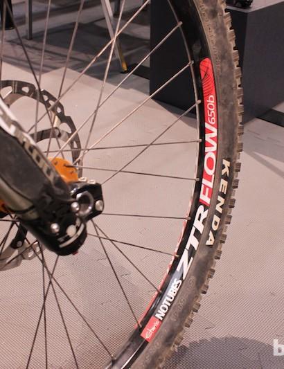 Stan's NoTubes ZTR Flow 650b wheels on Logan Binggeli's prototype KHS DH bike