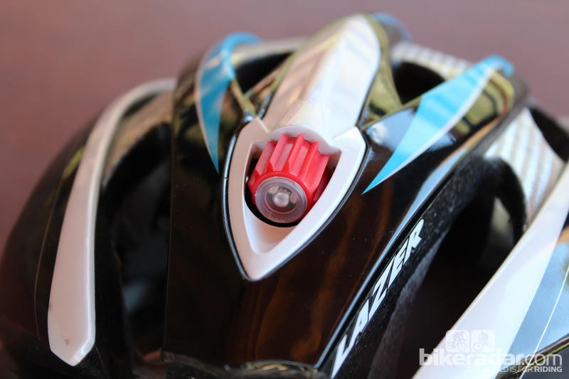 An LED is a new feature on Lazer's Helium road helmet