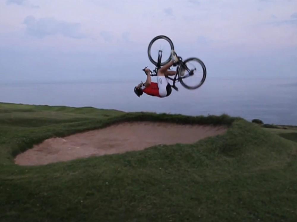 Martyn Ashton stunt riding on a Pinarello road bike