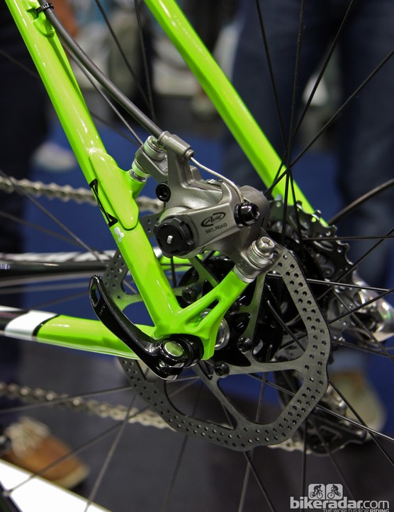 The rear end of the Cannondale SuperX Disc features post-mount tabs located on the seat stay for easier setup