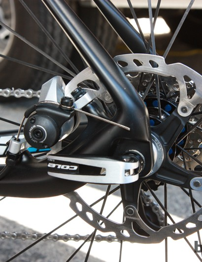 Raleigh mounts the RXC Pro Disc's rear brake on the chain stay