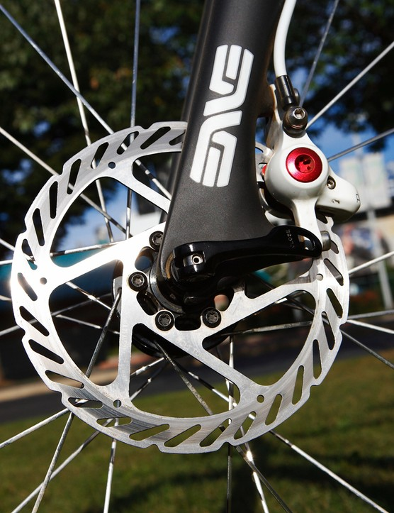Van Dessel Sports offers two disc-compatible 'cross bikes, but the company principal recommends brakes with self-adjusting pads, such as TRP's Parabox, if buyers expect to be racing in very wet and sandy conditions without pit support