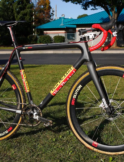 Van Dessel Sports' full-carbon Full Tilt Boogie dressed up in disc brake trim. This bike is the personal steed of company owner Edwin Bull