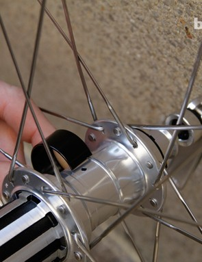 An alloy cap covers the small grease port in the centre of the hub, and can be easily accessed