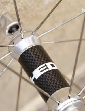 Flamme Rouge Sonic front hubs feature a central carbon sleeve for weight reduction