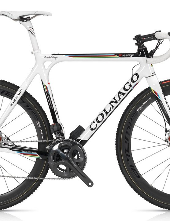 Colnago's top-end Cross Prestige carbon fiber chassis is exclusively disc-only for 2013 with a molded monocoque front triangle and a lugged rear end