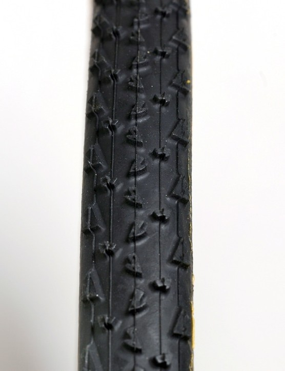 The $124 Dugast Rhino tubular has a tread that can handle mud well but also race well in dry conditions
