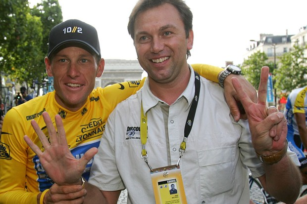 How many fingers am I holding up? Johan Bruyneel, who helped Lance Armstrong to his seven Tour de France wins, has been fired by the RadioShack-Nissan team for his role in assisting with the team's doping program