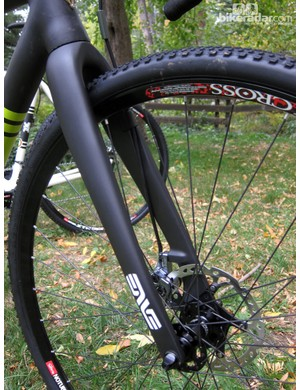 Housing is neatly routed up along the inside of the Enve Composites Cross Disc fork leg