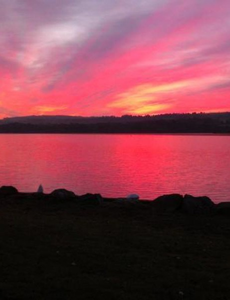 View from my commute. Sunrise over Castle Semple Loch.