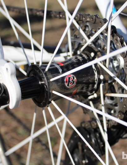 Bontrager's Aeolus D3 carbon tubular hoops are laced to Bontrager XXX hubs. Here, a SRAM X Glide 28x11 cassette is shown. Compton also had a prototype SRAM Red cassette with a similarly open back