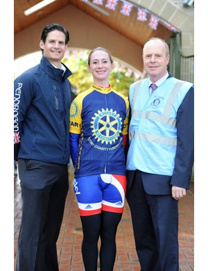 Nick Bourne of Pendragon Sports with Wendy Houvenaghel and Alistair Powell of Rotary Charity Fundraisers