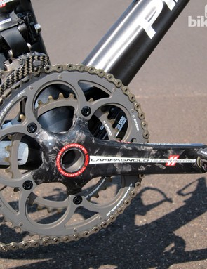 Front shifting was flawless on our Campagnolo Super Record EPS-equipped test bike