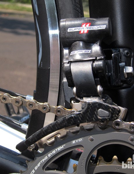 Campagnolo does an admirable job of masking the bulk of its Super Record EPS electronic front derailleur