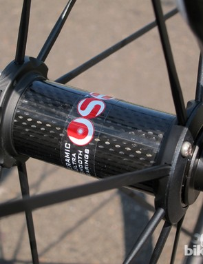 The carbon-bodied Campagnolo hubs roll smoothly and feature adjustable bearing preload, but we think the company could do better than simple stick-on decals