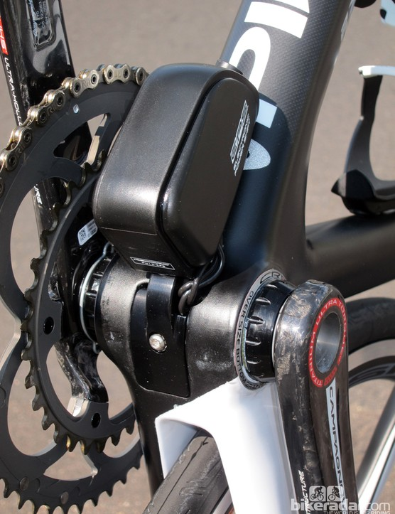 The removable cable access port underneath the bottom bracket can be swapped out for a Campagnolo EPS battery mount