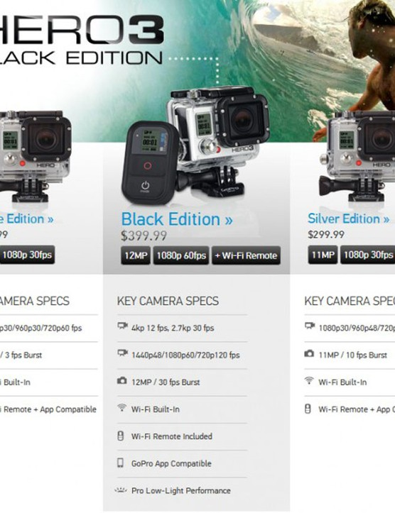GoPro HERO3 range: Black, Silver and White Editions