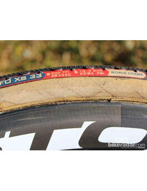A closer look at the cotton sidewall of a Team Edition Challenge Grifo XS after a few weeks of use