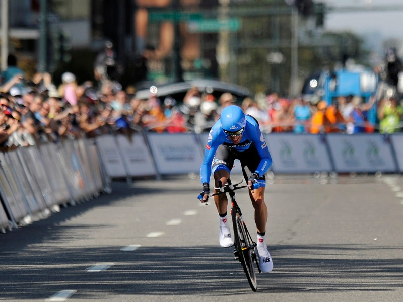Christian Vande Velde heads to the finish line and overall victory at the 2012 USA Pro Challenge