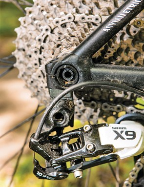 The X9 rear mech and shifters are complemented by an XO front mech for shifting duties