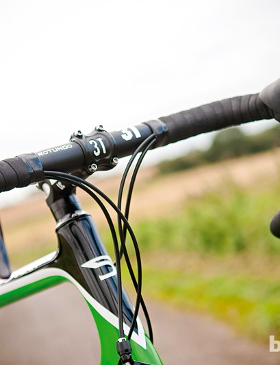 The carbon frame is teamed with a traditional round 3T handlebar