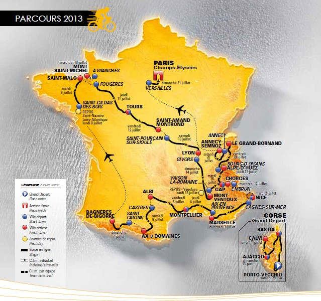 Route map of the 2013 Tour de France