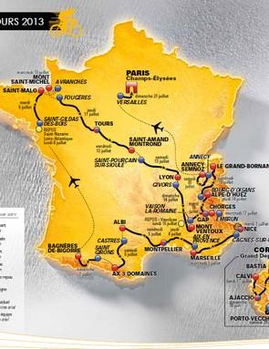 Route map of the 2013 Tour de France