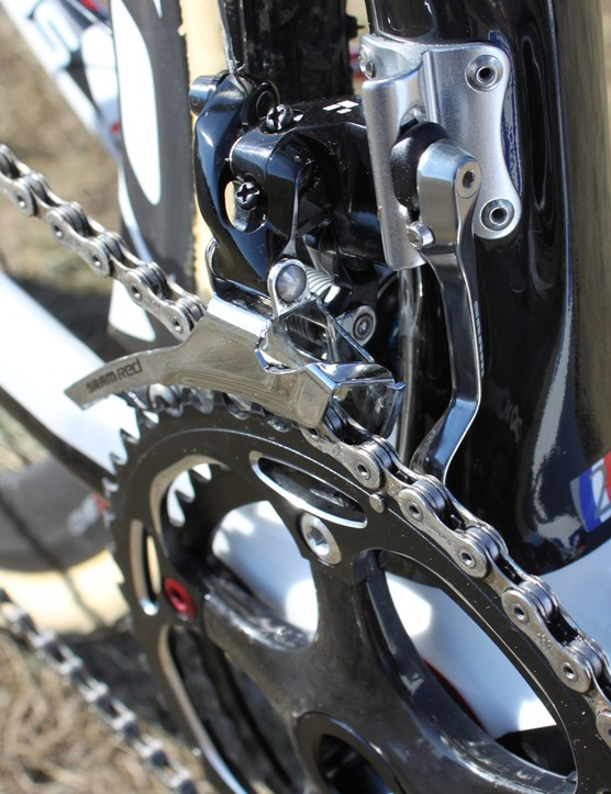 Front shifting duties are handled by a 2013 Red front derailleur with an inner chain spotter. Powers runs 46/39T chainrings