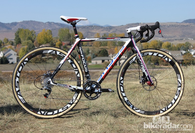 Powers is riding a prototype, disc-specific version of Focus' carbon Mares