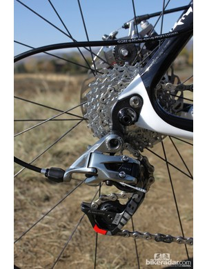A Red rear derailleur handles rear shifting duties. Like many other SRAM-sponsored cylocross racers, Powers prefers to run a PG1070 cassette, due to its ability to shed mud better than the Red model