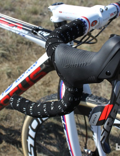 The latest iteration of SRAM Red is much more 'cross friendly. The taller hoods and textured surface make the levers much easier to hold onto when covered in mud