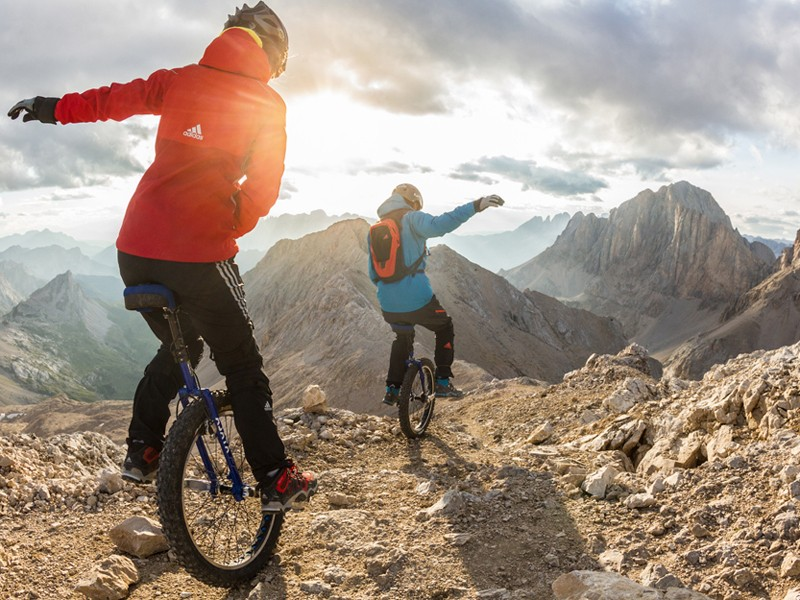 Fancy hitting the Dolomites on a unicycle? No, us neither, but it makes for good video