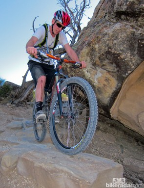 """MRP's marketing director Noah Sears """"product testing"""" on the Lunch Loop trails just down the street from his office"""