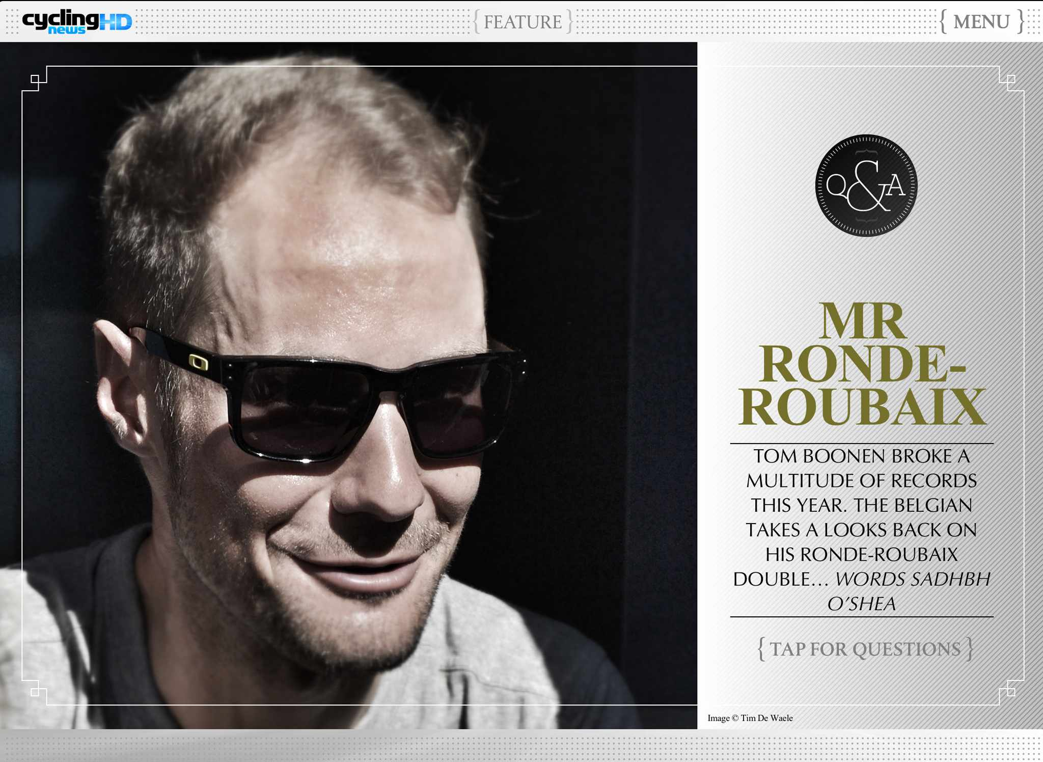 The latest issue of CN HD features an exclusive Tom Boonen interview