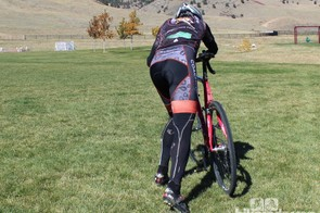 How to remount (rear view): With the left foot forward, open your hips toward the bike