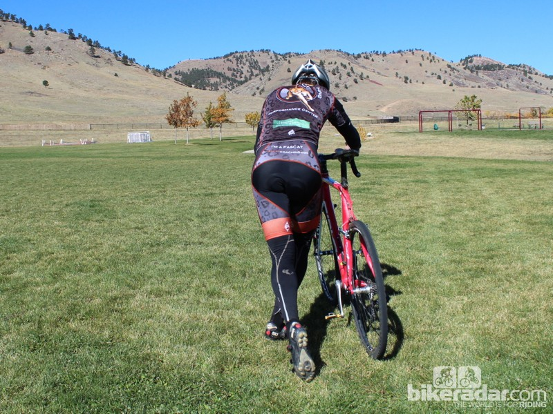 How to remount (rear view): Set the bike down gently and put your right hand back on the hood
