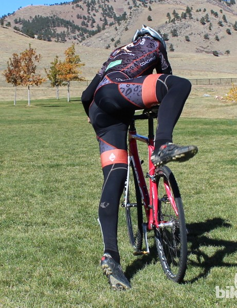 How to remount (rear view): Hop up onto the saddle, landing on the inside of your right thigh