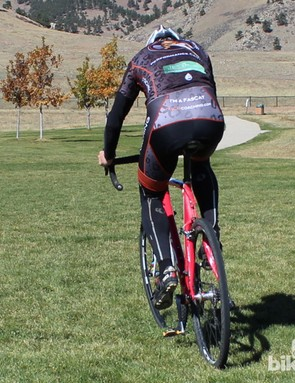 How to remount (rear view): Drive your right foot onto the pedal, engaging the cleat and propelling the bike forward