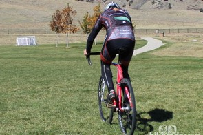 How to remount (rear view): Pushing hard on the right foot will also help you slide into position on the saddle
