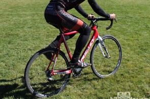 How to remount (side view): Get your right foot on first, driving the bike forward and engaging your cleat