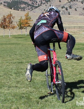 How to remount (rear view): It's not a high-jump contest. As with all of cyclocross, efficiency is key in the remount