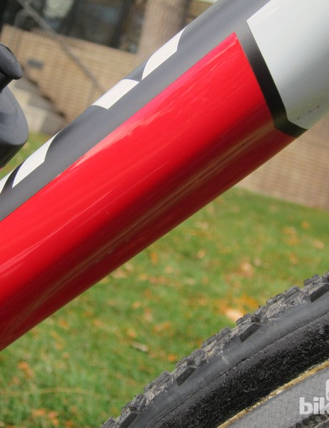 The bottom of the down tube features a slight indentation that's designed to provide a firm grip