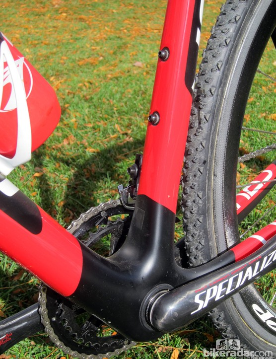 Todd Wells' Specialized S-Works CruX Carbon frame includes ports for electronic drivetrains