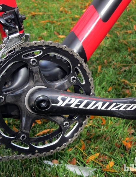 The Specialized FACT carbon fiber crankarm is fitted with SRAM 46/39T chainrings