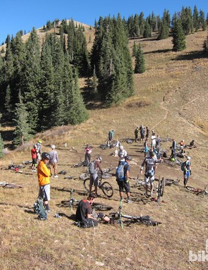 A typical weekend crowd at the top of Burro Pass