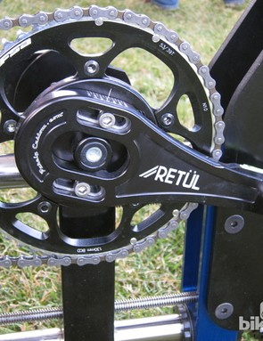 The Purely Custom crankset is easily adjustable for crankarm length