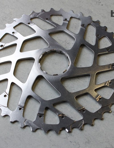 The big cog is then heat treated and anodized.