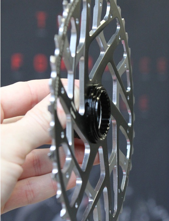Note the subtle concave shape of the 42-tooth cog's profile. SRAM's engineers were able to build an 11-speed cassette that mounts on a 10-speed freehub by taking advantage of the 42-tooth cog's massive size to