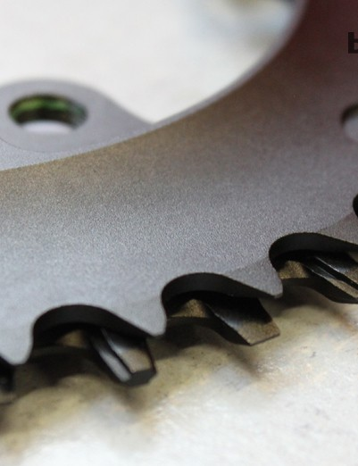 Compared with a traditional multi-speed chainring, an XX1 ring has taller teeth with a squared-off profile to minimize the likelihood of unwanted derailment.