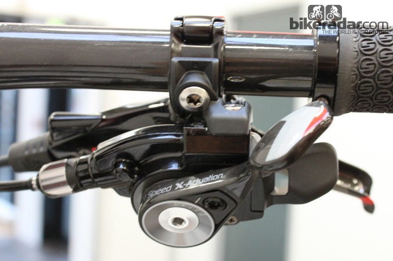 The 11-speed trigger shifter has a lighter feel than SRAM's 10-speed offerings.